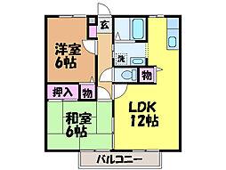 愛媛県伊予郡松前町大字西古泉の賃貸アパートの間取り