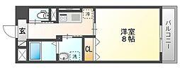 JR山陽本線 岡山駅 徒歩14分の賃貸マンション 4階1Kの間取り