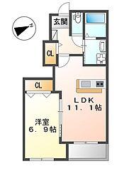 JR加古川線 社町駅 徒歩31分の賃貸アパート 1階1LDKの間取り