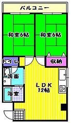 大阪府富田林市常盤町の賃貸マンションの間取り