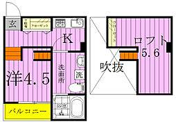 千葉県松戸市南花島4丁目の賃貸アパートの間取り