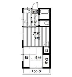 東京都中野区江原町2丁目の賃貸アパートの間取り