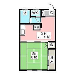 サンハイツヤマモトA[2階]の間取り