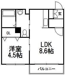 mia casa平岸[302号室]の間取り