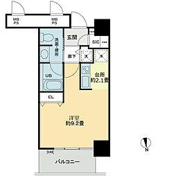 ベルファース大阪新町 9階ワンルームの間取り