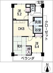 マンション城土[3階]の間取り
