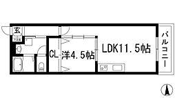大阪府池田市井口堂3丁目の賃貸アパートの間取り