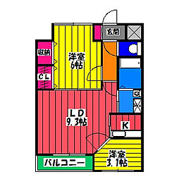 福岡県福岡市博多区東那珂2丁目の賃貸マンションの間取り