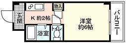 JR山陽本線 広島駅 徒歩29分の賃貸マンション 2階1Kの間取り