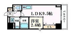 Osaka Metro谷町線 天満橋駅 徒歩2分の賃貸マンション 2階1LDKの間取り