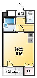 南海高野線 萩ノ茶屋駅 徒歩4分の賃貸マンション 6階ワンルームの間取り