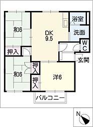 エステート平池B[2階]の間取り