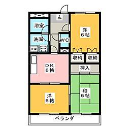 愛知県名古屋市天白区中平3の賃貸マンションの間取り