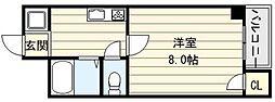大阪府大阪市東成区大今里南5丁目の賃貸マンションの間取り