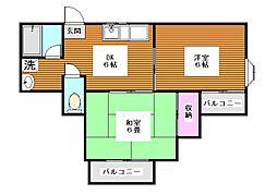 東京都板橋区徳丸5丁目の賃貸アパートの間取り