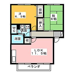 コーポアドラシオンB[2階]の間取り