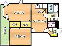 マメゾン鷺田 B棟[1階]の間取り
