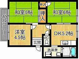 奈良県奈良市奈良阪町の賃貸アパートの間取り