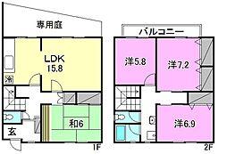 [テラスハウス] 愛媛県松山市道後一万 の賃貸【/】の間取り