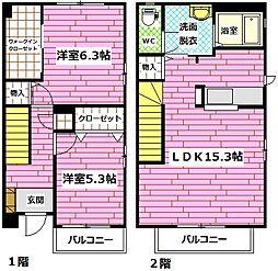 [タウンハウス] 広島県広島市安佐南区相田1丁目 の賃貸【/】の間取り