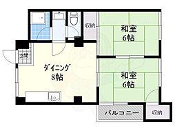 第2清涼マンション 3階2DKの間取り