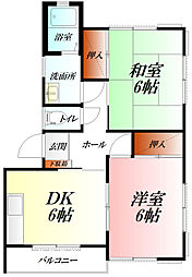 辰巳ハイツIII 2階2DKの間取り