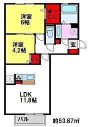 佐賀県三養基郡みやき町大字原古賀の賃貸アパートの間取り