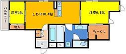JR東海道・山陽本線 摩耶駅 徒歩2分の賃貸アパート 3階2LDKの間取り