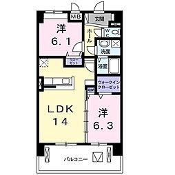 シャトー・カネハラ B[5階]の間取り