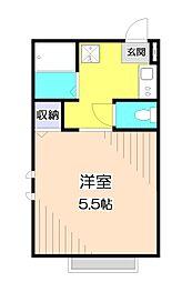 東武東上線 朝霞台駅 徒歩4分の賃貸アパート 3階ワンルームの間取り