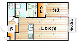 スクールサイド若藤[2階]の間取り
