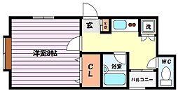 兵庫県神戸市東灘区御影郡家2丁目の賃貸アパートの間取り