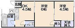 コーポフジ2[2階]の間取り