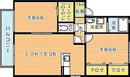 エトワール加来 B棟[2階]の間取り
