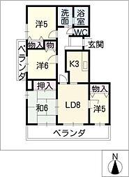 シャトーレ笠取[6階]の間取り