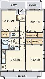 静岡県御殿場市萩原の賃貸マンションの間取り