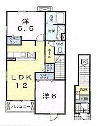 千葉県千葉市緑区あすみが丘東1丁目の賃貸アパートの間取り