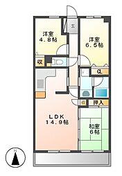 サンマンションアトレ今池南[3階]の間取り