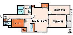 ル・ソレイユII 1階2LDKの間取り