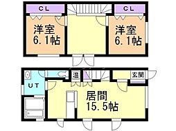 新琴似2−11一棟二戸 1階2LDKの間取り