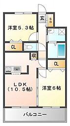 ユカミハイツ江坂[9階]の間取り