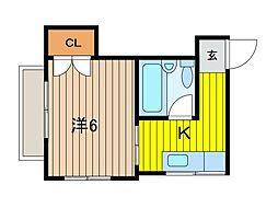 曽山コーポ[202号室]の間取り