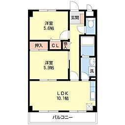 スーリール1番館[6階]の間取り