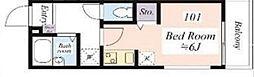 京王井の頭線 永福町駅 徒歩5分の賃貸マンション 1階ワンルームの間取り