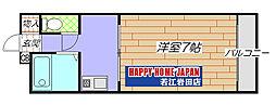 若江岩田駅徒歩5分 クワズハイツ[205号室]の間取り