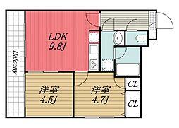 千葉県千葉市中央区亀岡町の賃貸マンションの間取り