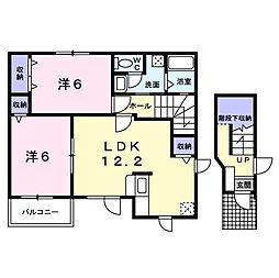 愛知県西尾市中畑1丁目の賃貸アパートの間取り