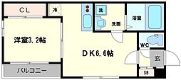 ハーモニーテラス大宮III 2階1DKの間取り