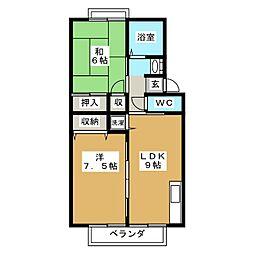 トゥインクルコート文化町8番館[2階]の間取り