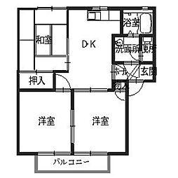 兵庫県姫路市網干区田井の賃貸アパートの間取り